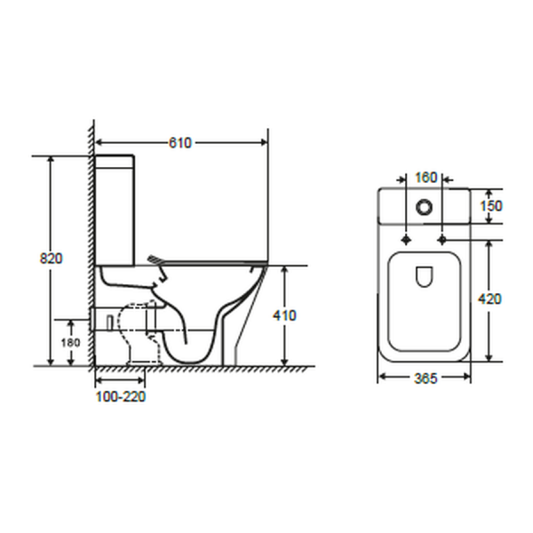 Inodoro compacto adosado a pared con sistema Rimless, salida dual - Capri - Futurbaño